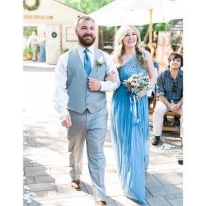 Steel Blue David's Bridal Bridesmaid Dress